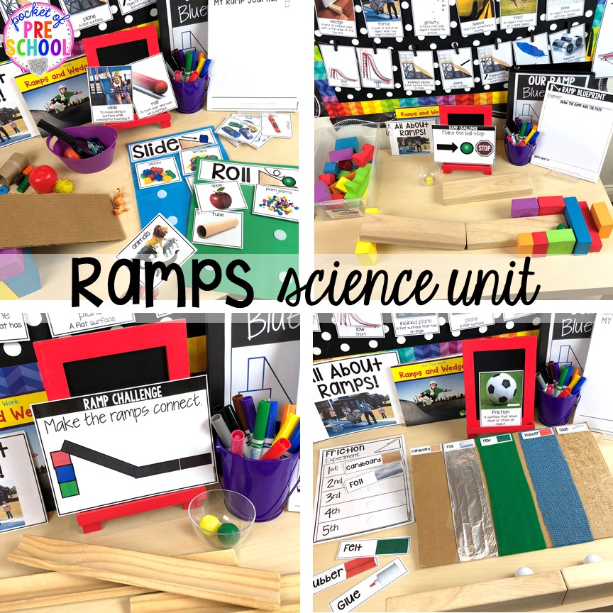 Ramps, force and motion science unit for preschool, pre-k, and kindergarten #preschoolscience #sciencecenter #prekscience #kindergartenscience