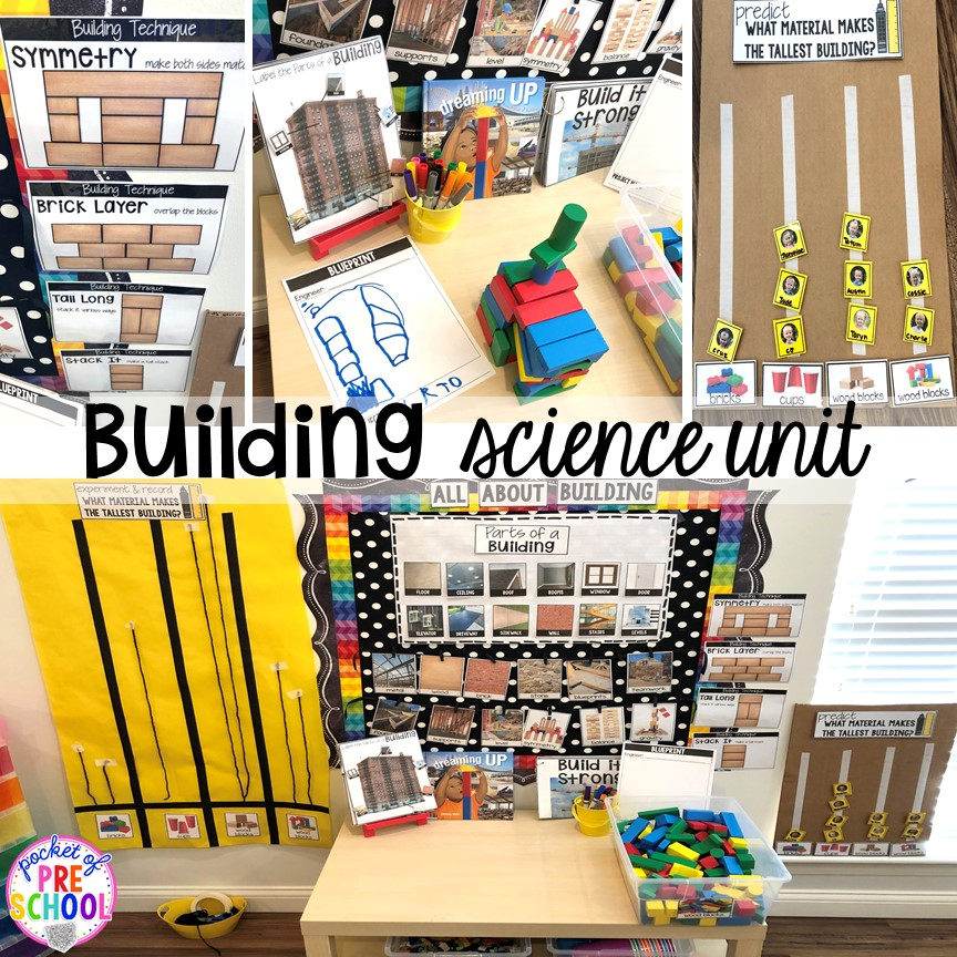 Building science unit for preschool, pre-k, and kindergarten #preschoolscience #sciencecenter #prekscience #kindergartenscience
