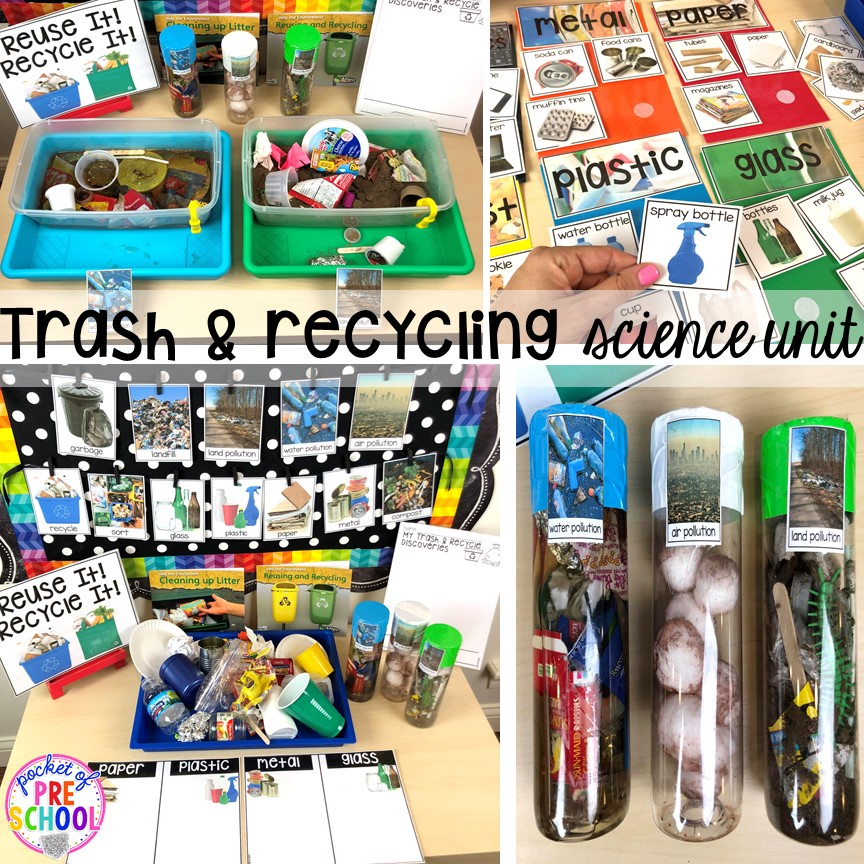 Trash, recycling, or Earth Day science unit for preschool, pre-k, and kindergarten #preschoolscience #sciencecenter #prekscience #kindergartenscience