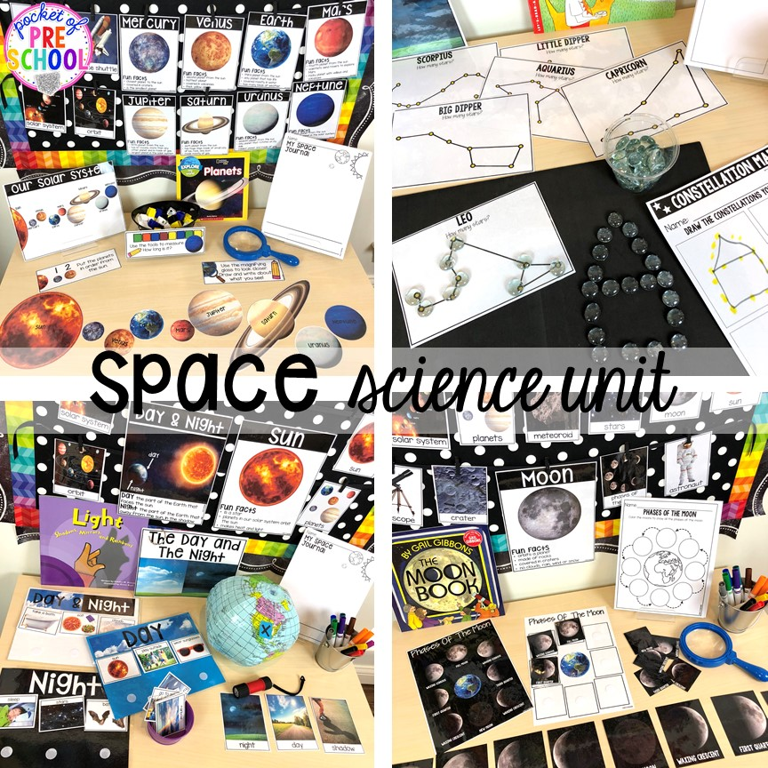 Space science unit for preschool, pre-k, and kindergarten #preschoolscience #sciencecenter #prekscience #kindergartenscience