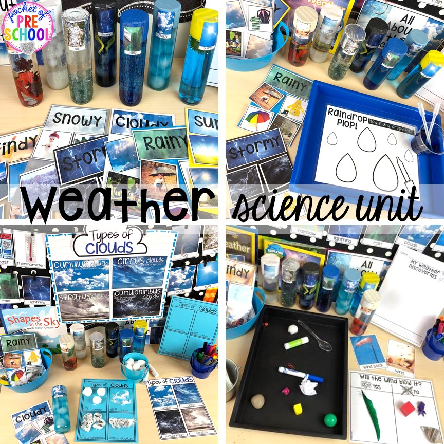 Science table for a weather theme! Tons of ideas for the science center and science table in a preschool, pre-k, and kindergarten classroom. #preschoolscience #sciencecenter #prekscience #kindergartenscience