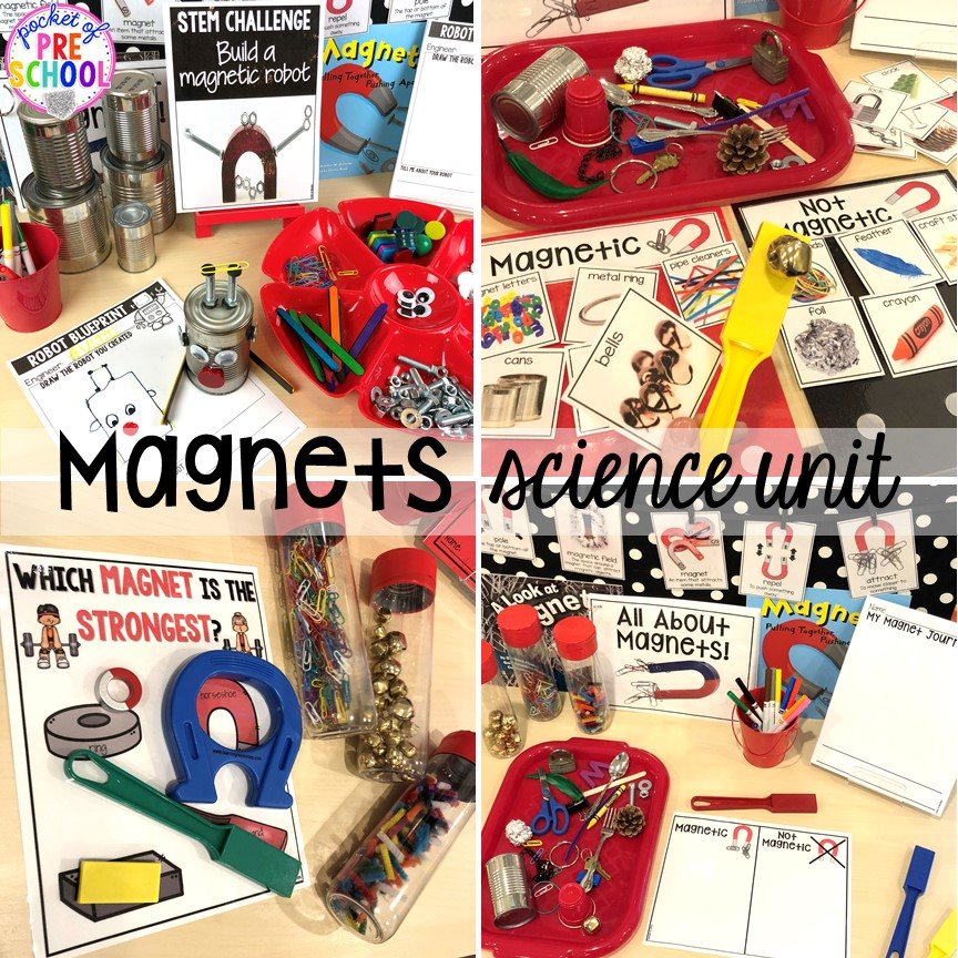 Magnets science unit for preschool, pre-k, and kindergarten #preschoolscience #sciencecenter #prekscience #kindergartenscience