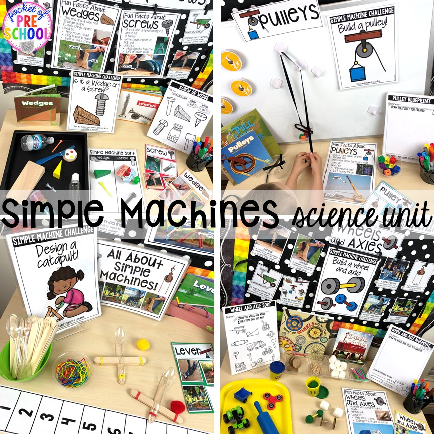 Simple machines science unit for preschool, pre-k, and kindergarten #preschoolscience #sciencecenter #prekscience #kindergartenscience
