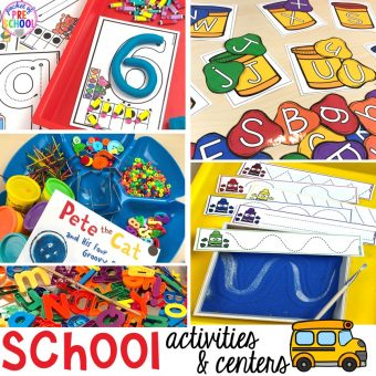 School theme activities and centers (letters, counting, fine motor, sensory, blocks, science)! Preschool, pre-k, and kindergarten will love it. #schooltheme #schoolactivities #preschool #prek #backtoschool #kindergarten