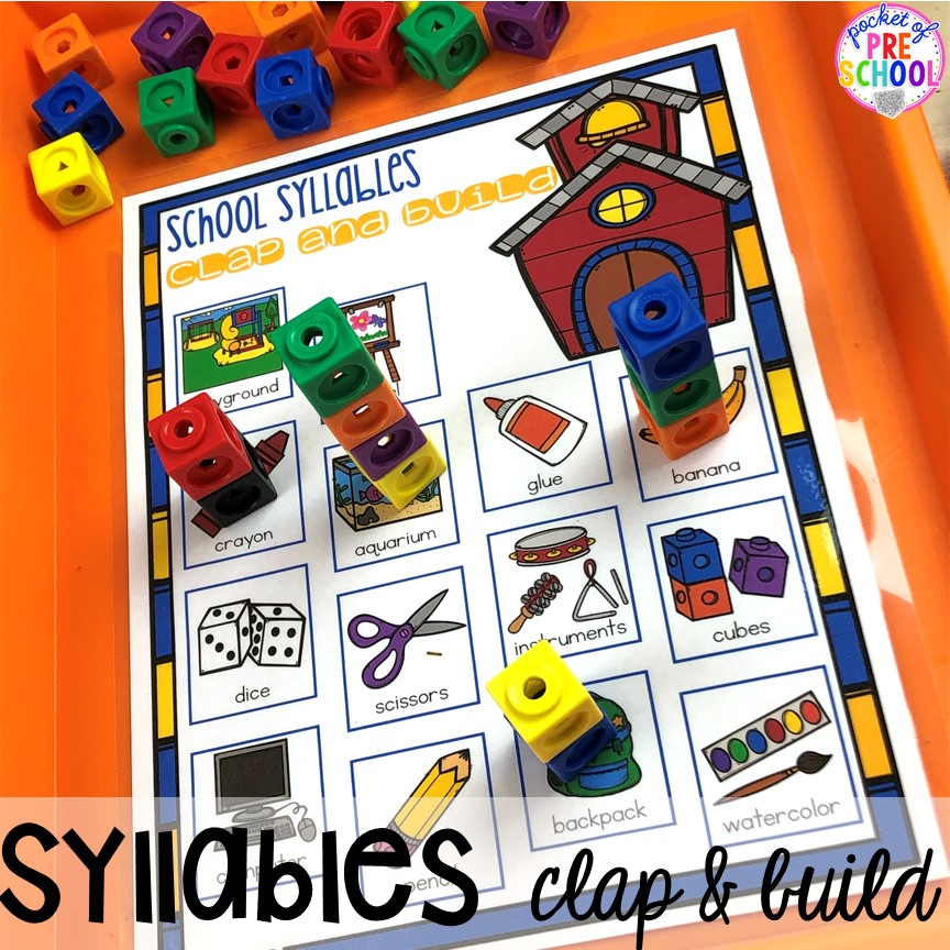 School supplies syllables game. School theme activities and centers (letters, counting, fine motor, sensory, blocks, science)! Preschool, pre-k, and kindergarten will love it. #schooltheme #schoolactivities #preschool #prek #backtoschool #kindergarten
