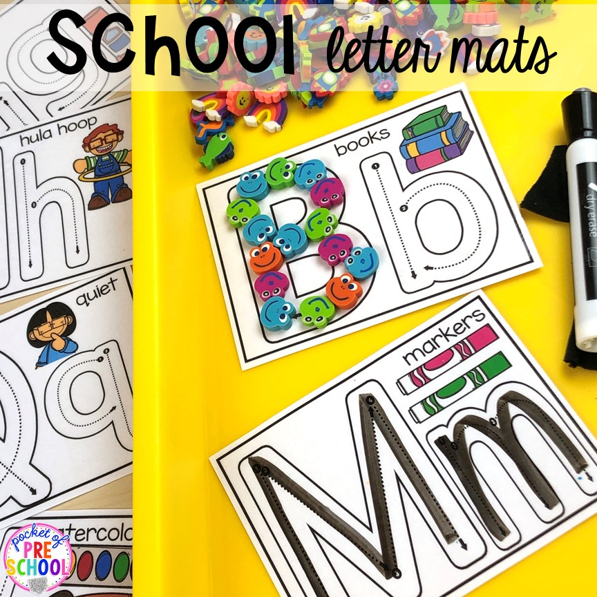 School themed letter mats. School theme activities and centers (letters, counting, fine motor, sensory, blocks, science)! Preschool, pre-k, and kindergarten will love it. #schooltheme #schoolactivities #preschool #prek #backtoschool #kindergarten