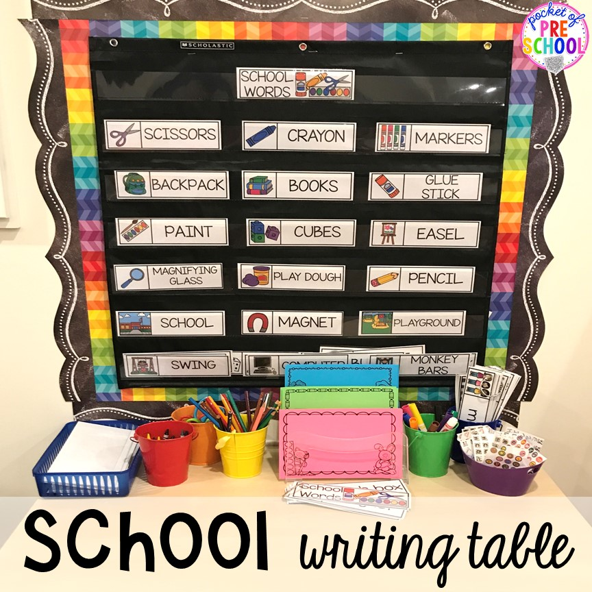 School theme writing table for back to school! Made for preschool, pre-k, and kindergarten. #schooltheme #schoolactivities #preschool #prek #backtoschool #kindergarten