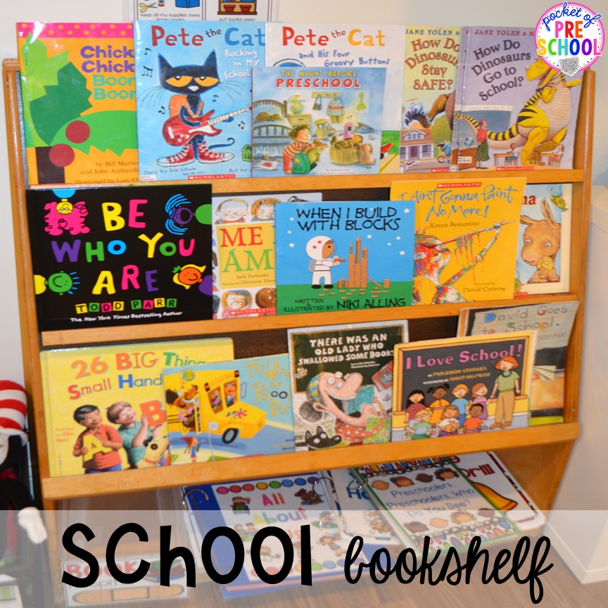 School themed bookshelf for back to school! Made for preschool, pre-k, and kindergarten. #schooltheme #schoolactivities #preschool #prek #backtoschool #kindergarten