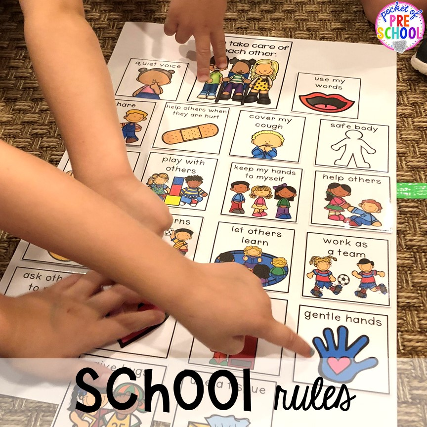 School rules visual chart for back to school! Made for preschool, pre-k, and kindergarten. #schooltheme #schoolactivities #preschool #prek #backtoschool #kindergarten