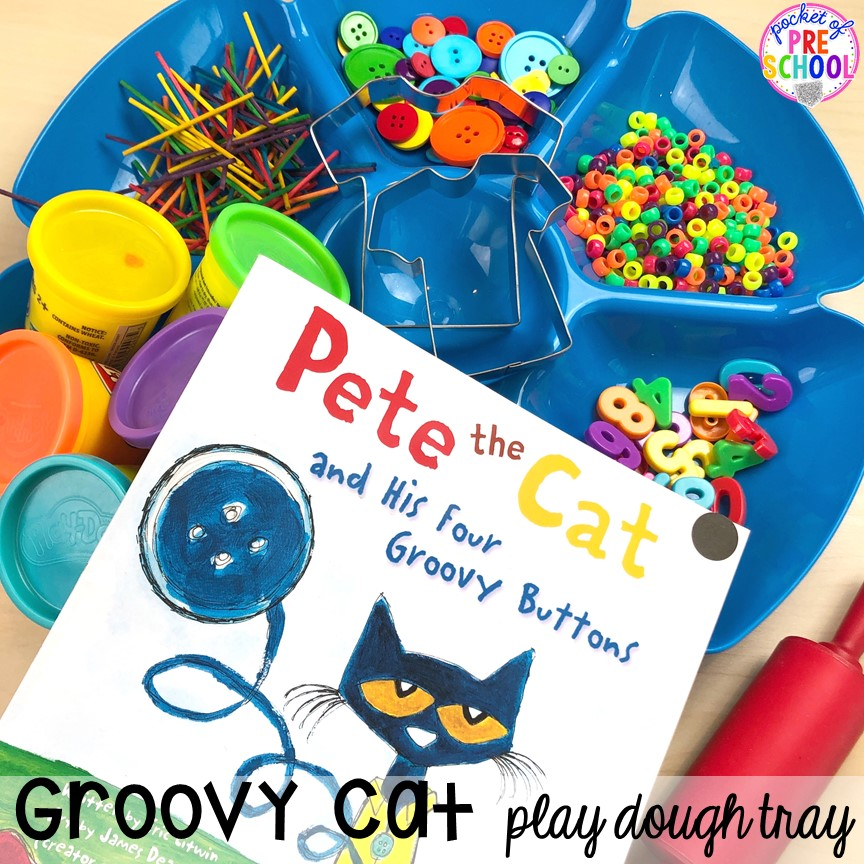 Pete the Cat play dough tray for back to school! Made for preschool, pre-k, and kindergarten. #schooltheme #schoolactivities #preschool #prek #backtoschool #kindergarten