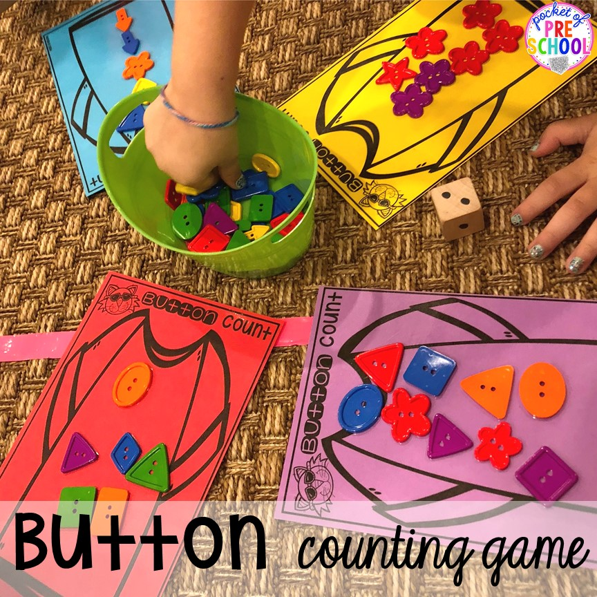Pete the Cat button counting game for back to school! Made for preschool, pre-k, and kindergarten. #schooltheme #schoolactivities #preschool #prek #backtoschool #kindergarten