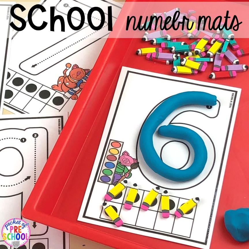 School number mats for back to school! Made for preschool, pre-k, and kindergarten. #schooltheme #schoolactivities #preschool #prek #backtoschool #kindergarten