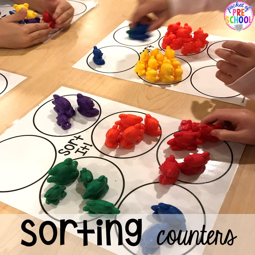 Bear or counter sort for back to school! Made for preschool, pre-k, and kindergarten. #schooltheme #schoolactivities #preschool #prek #backtoschool #kindergarten