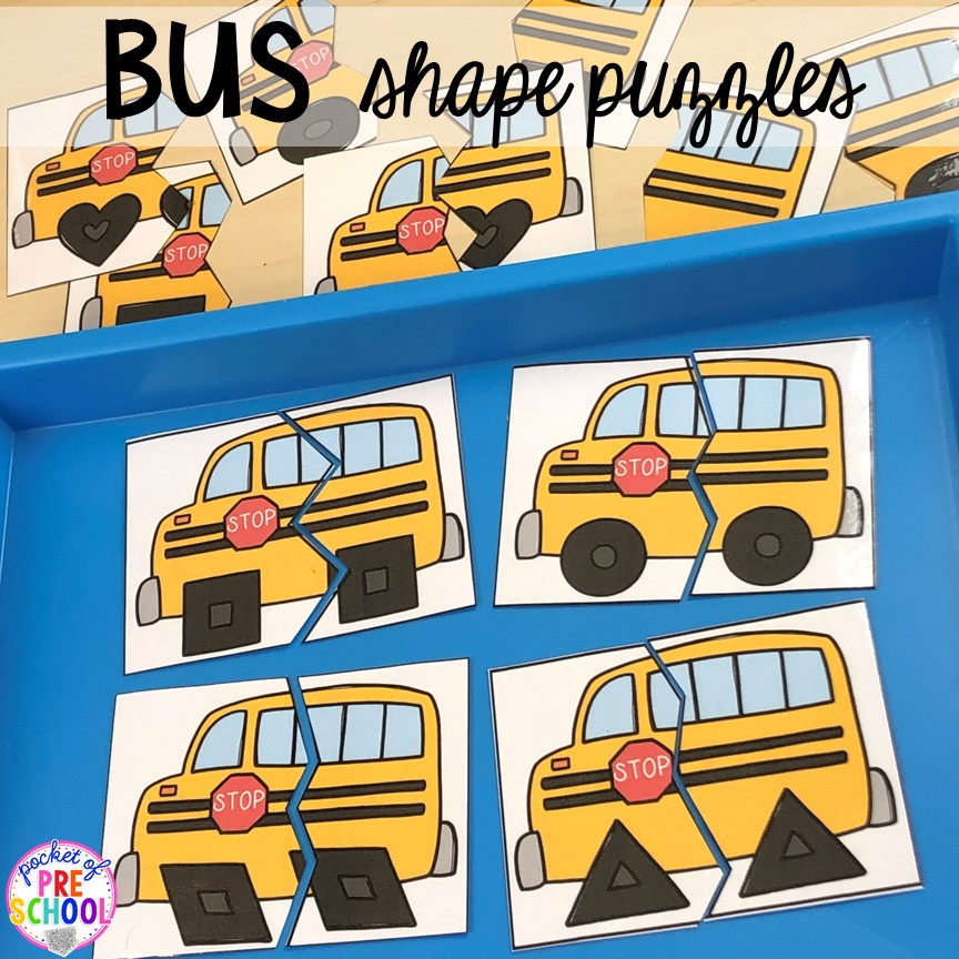 Bus shape puzzles for back to school! Made for preschool, pre-k, and kindergarten. #schooltheme #schoolactivities #preschool #prek #backtoschool #kindergarten