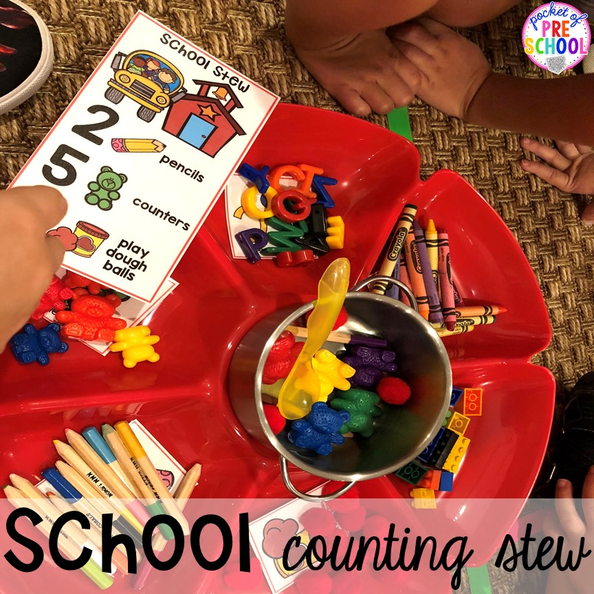 School counting school is a fun counting game for back to school! Designed for preschool, pre-k, and kindergarten.