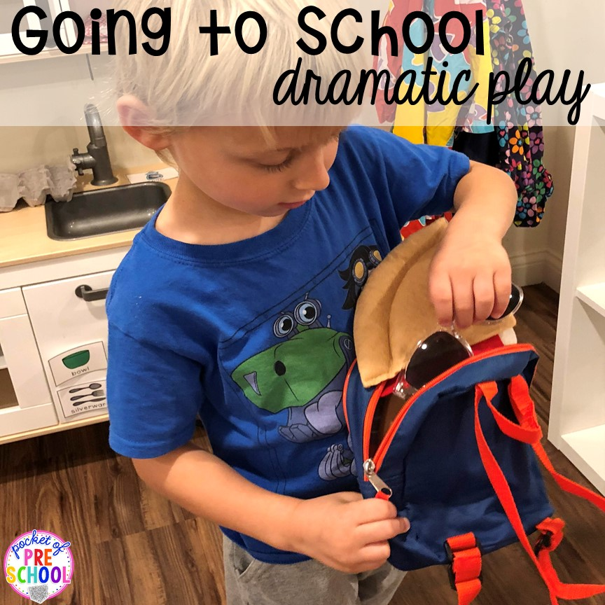 Add backpacks to home living for back to school! Made for preschool, pre-k, and kindergarten. #schooltheme #schoolactivities #preschool #prek #backtoschool #kindergarten