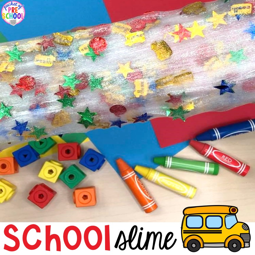 School slime for back to school! Made for preschool, pre-k, and kindergarten. #schooltheme #schoolactivities #preschool #prek #backtoschool #kindergarten
