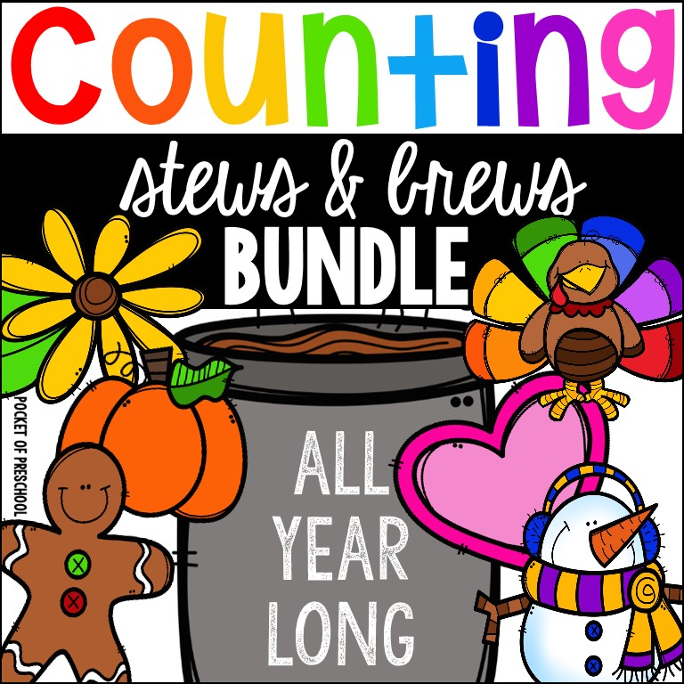 Themed Counting Stews - a fun hands on counting game for prschool, pre-k, and kindergarten.