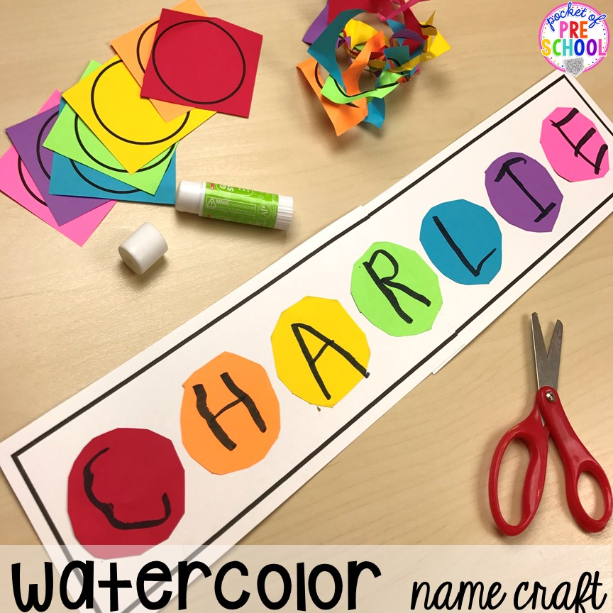 Paint name collage. School theme activities and centers (letters, counting, fine motor, sensory, blocks, science)! Preschool, pre-k, and kindergarten will love it. #schooltheme #schoolactivities #preschool #prek #backtoschool #kindergarten