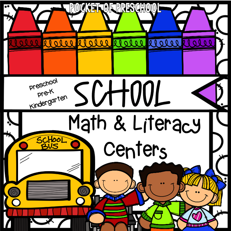 School themed math and literacy centers perfect for back to school time! Preschool, pre-k, and kindergarten kiddos will love it. #schooltheme #schoolcenters #preschool #prek