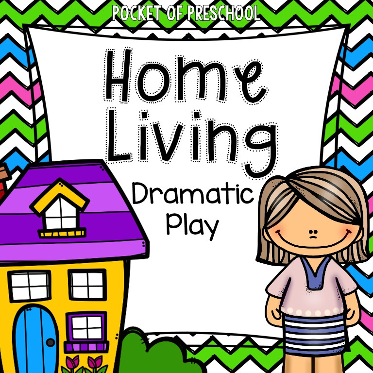 Home Living printables for the dramatic play center and pretend center #dramaticplay #pretend #pretendcenter