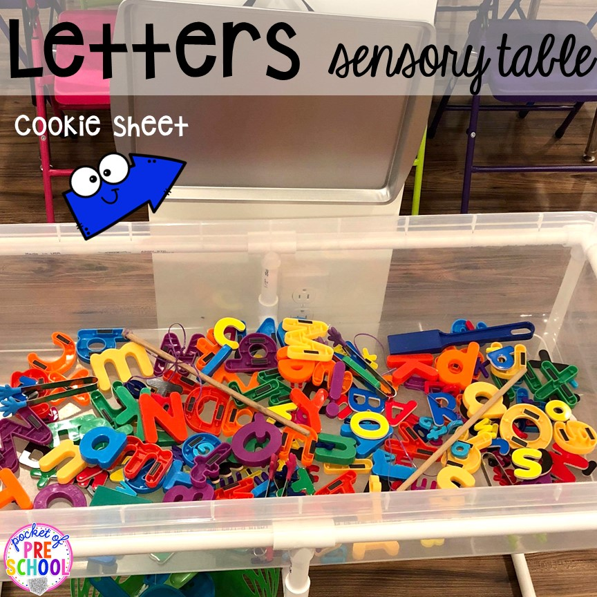 Magnet letter fishing sensory table. School theme activities and centers (letters, counting, fine motor, sensory, blocks, science)! Preschool, pre-k, and kindergarten will love it. #schooltheme #schoolactivities #preschool #prek #backtoschool #kindergarten