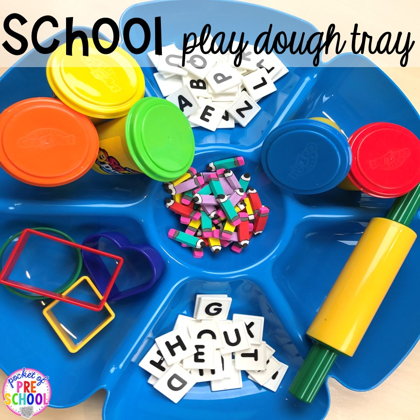 Letter play dough tray! School theme activities and centers (letters, counting, fine motor, sensory, blocks, science)! Preschool, pre-k, and kindergarten will love it. #schooltheme #schoolactivities #preschool #prek #backtoschool #kindergarten