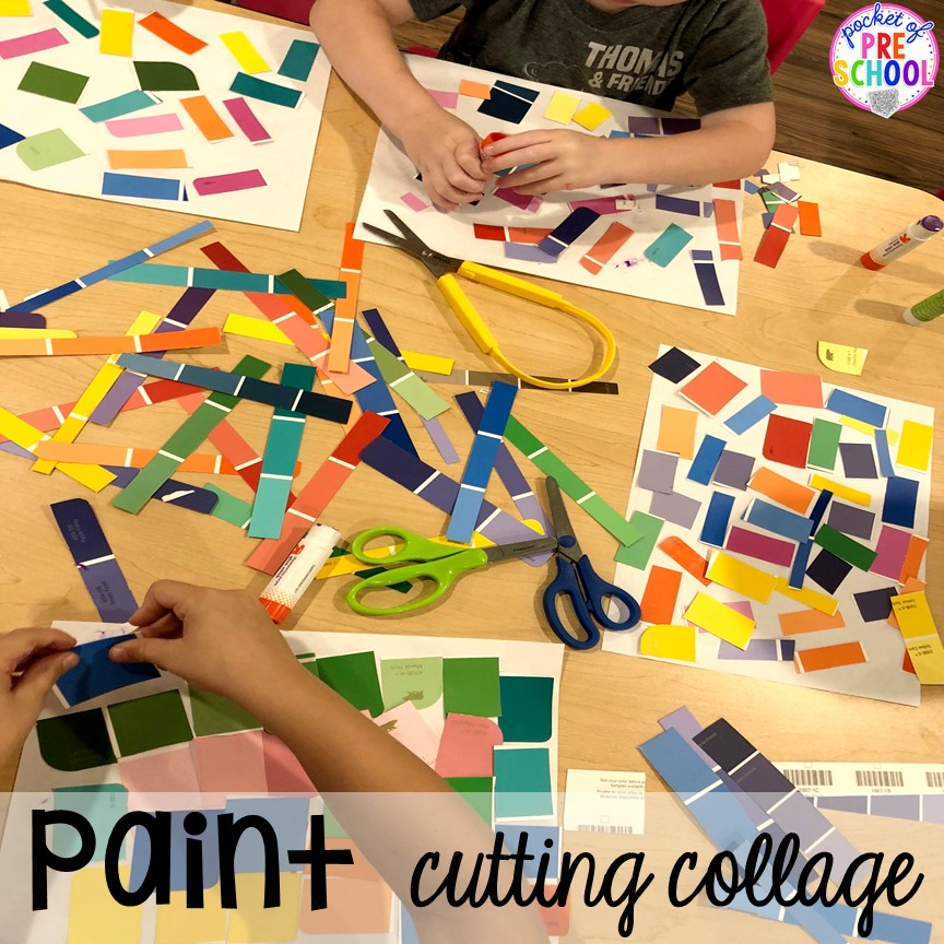 Paint sample cutting collage. School theme activities and centers (letters, counting, fine motor, sensory, blocks, science)! Preschool, pre-k, and kindergarten will love it. #schooltheme #schoolactivities #preschool #prek #backtoschool #kindergarten