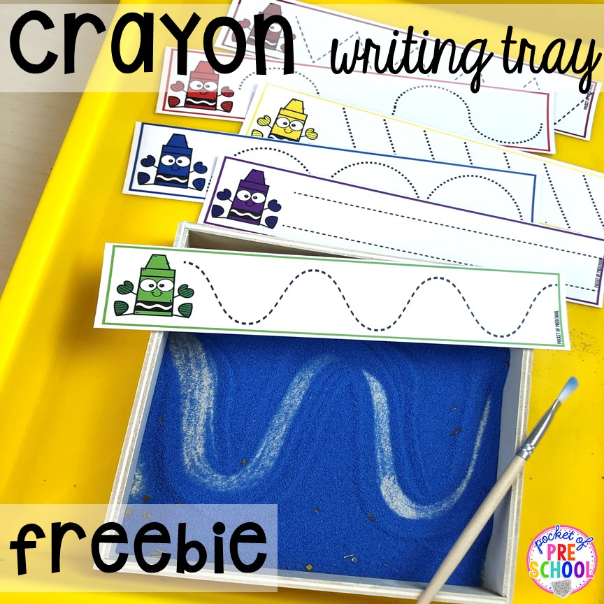 FREEBIE Crayon pre-writing cards for writing trays. Perfect for back to school.