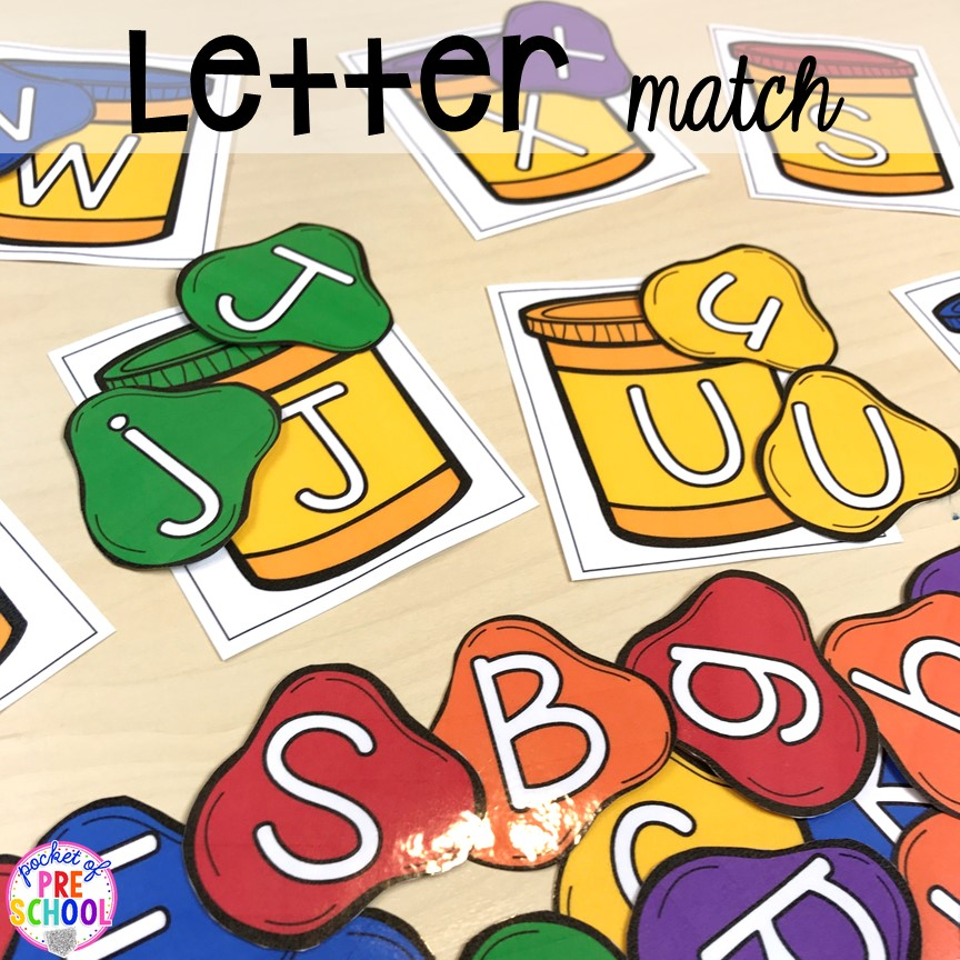 Play dough letter match game. School theme activities and centers (letters, counting, fine motor, sensory, blocks, science)! Preschool, pre-k, and kindergarten will love it. #schooltheme #schoolactivities #preschool #prek #backtoschool #kindergarten