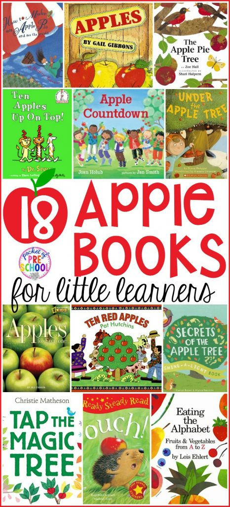 Giant apple book list perfect for preschool, pre-k, and kindergarten classrooms! Fun for a fall theme or apple theme. #appletheme #applebooklist #preschool #prek # kindergarten