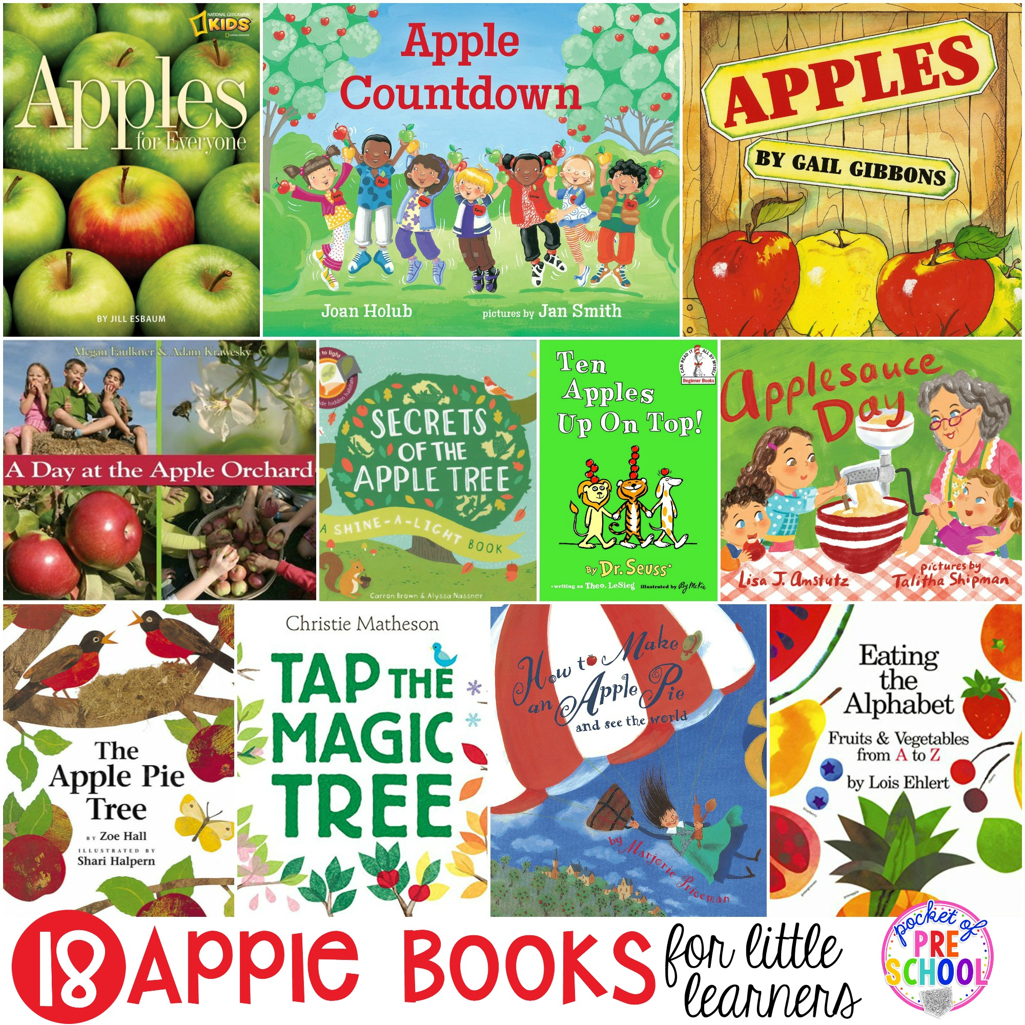 Giant apple book list perfect for preschool, pre-k, and kindergarten classrooms! #appletheme #applebooklist #preschool #prek # kindergarten
