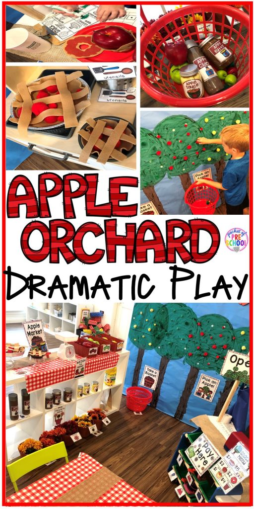 Apple Orchard Dramatic Play - How to change pretend into an Apple Orchard. Lot of DIY tips for preschool, pre-k, and kindergarten classrooms. #appleorchard #dramaticplay #pretendplay #preshool #prek #fall