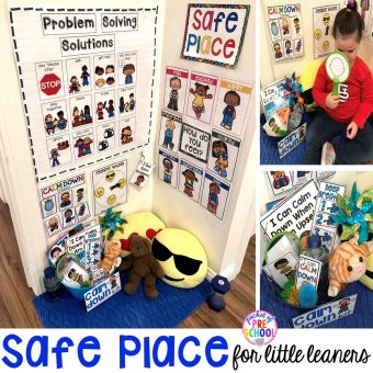 Safe place or cozy corner - how to set it up and implement it in your preschool, pre-k, and kindergarten classroom. #safeplace #socialskills #cozycorner #calmdownkit #preschool #prek #kindergarten