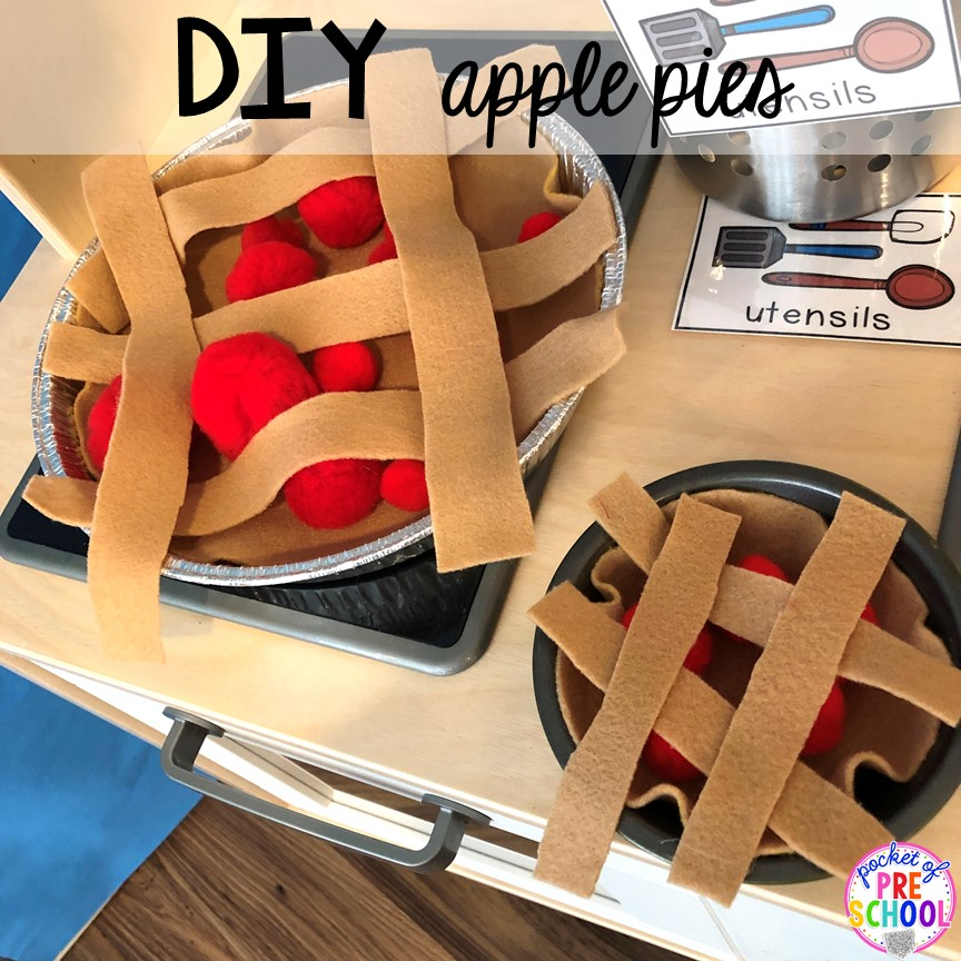 DIY Apple Pies - How to change pretend into an Apple Orchard for preschool, pre-k, and kindergarten. #appleorchard #dramaticplay #pretendplay #preshool #prek #fall