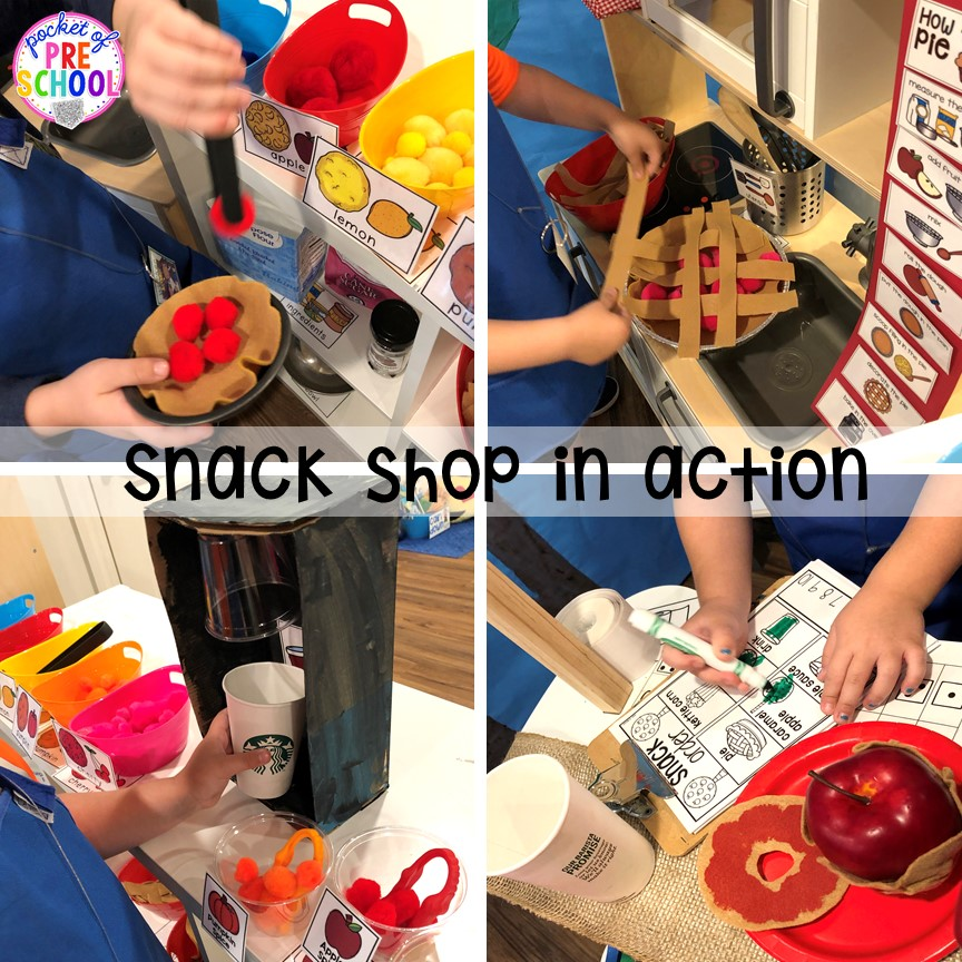 Apple Orchard (learning through play) - How to change pretend into an Apple Orchard for preschool, pre-k, and kindergarten. #appleorchard #dramaticplay #pretendplay #preshool #prek #fall