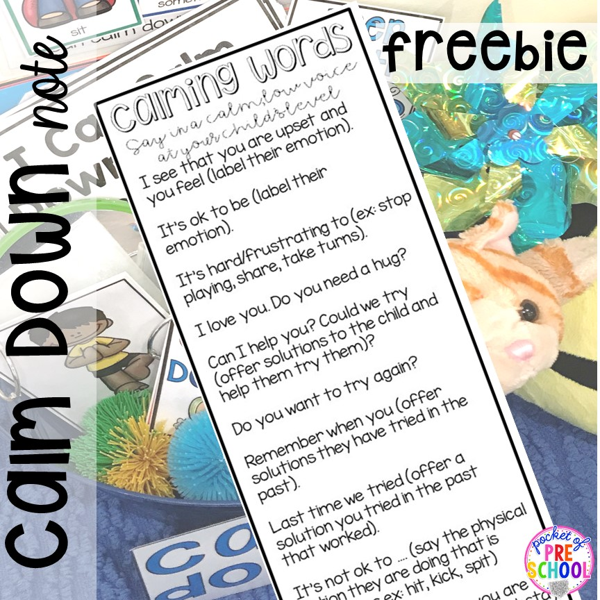 FREE calm down note for teachers and parents in your preschool, pre-k, and kindergarten classroom. #safeplace #socialskills #cozycorner #calmdownkit #preschool #prek #kindergarten