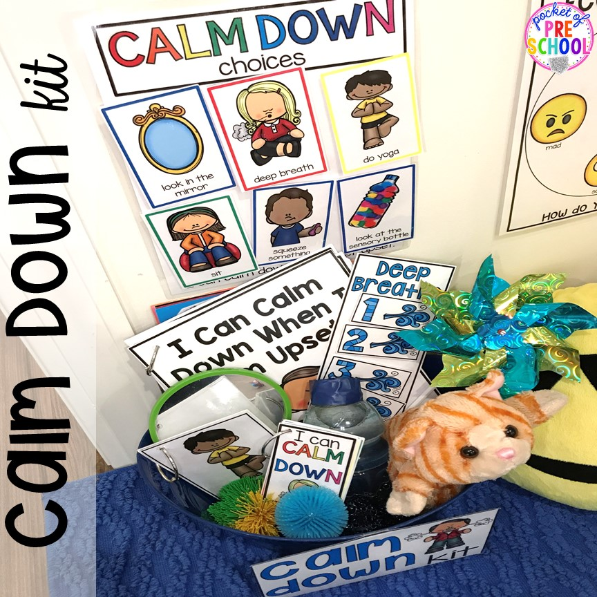 Calm Down Kit - how to set it up and implement it in your preschool, pre-k, and kindergarten classroom. #safeplace #socialskills #cozycorner #calmdownkit #preschool #prek #kindergarten