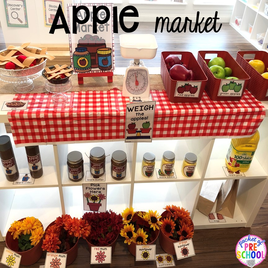 DIY Apple Orchard apple food props - How to change pretend into an Apple Orchard for preschool, pre-k, and kindergarten. #appleorchard #dramaticplay #pretendplay #preshool #prek #fall