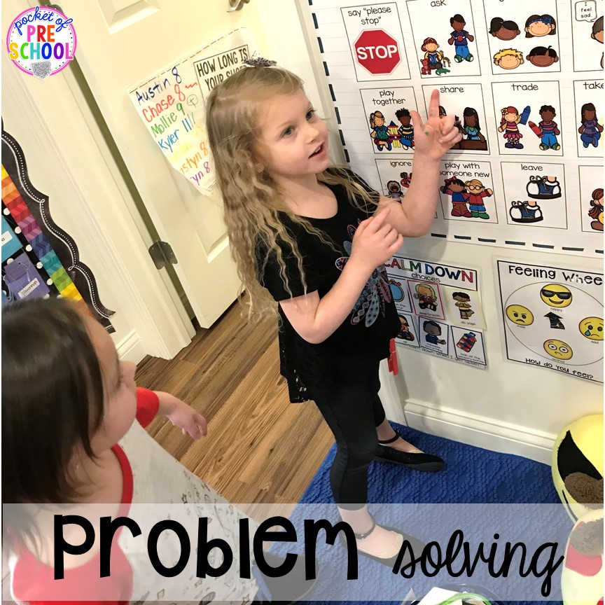 Problem Solving Strategies - how to set it up and implement it in your preschool, pre-k, and kindergarten classroom. #safeplace #socialskills #cozycorner #preschool #prek #kindergarten