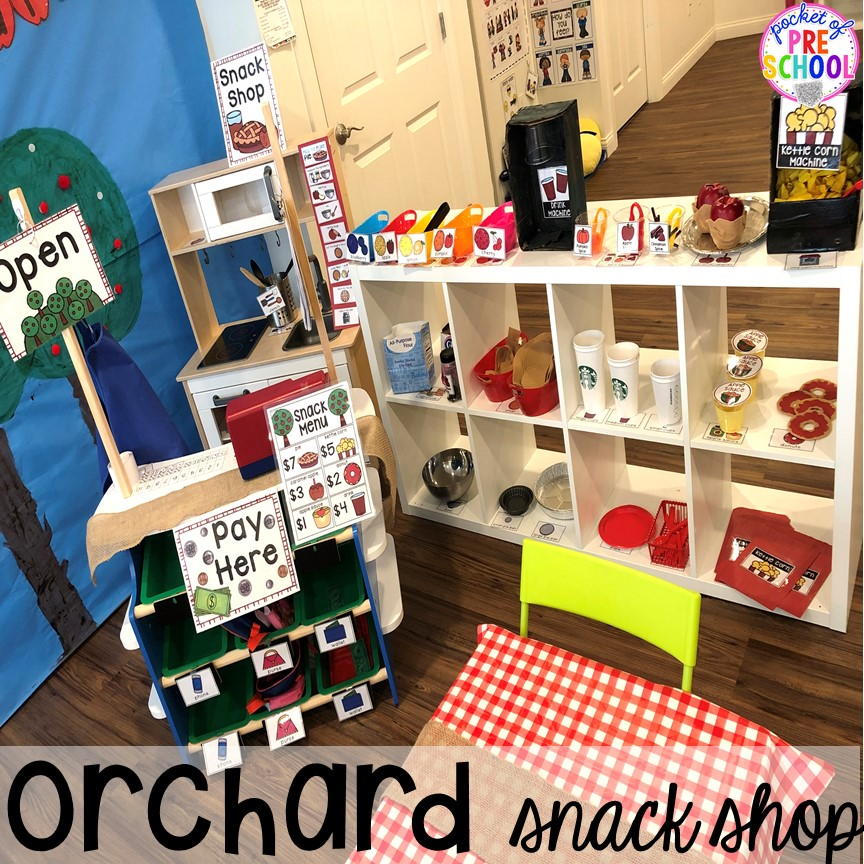 DIY Apple Orchard Snack Shop - How to change pretend into an Apple Orchard for preschool, pre-k, and kindergarten. #appleorchard #dramaticplay #pretendplay #preshool #prek #fall