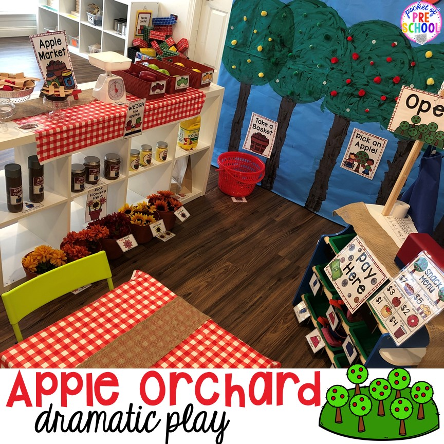 Apple Orchard Dramatic Play - learn and explore math, language, and science through PLAY!