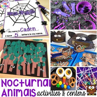 Nocturnal Animals activities and centers for preschool, pre-k, and kindergarten . Ideas for every center, letters, writing, fine motor, sensory, science, art, blocks, and more. #preschool #prek #nocturnalanimalstheme #falltheme