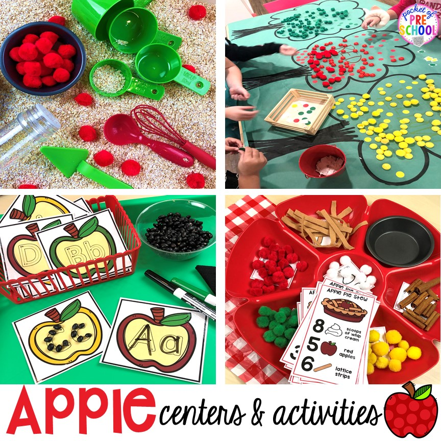 Apple activities and centers (writing, letters, math, sensory, fine motor, art, and more) perfect for preschool, pre-k, and kindergarten. #appletheme #preschool #prek #appleactivities