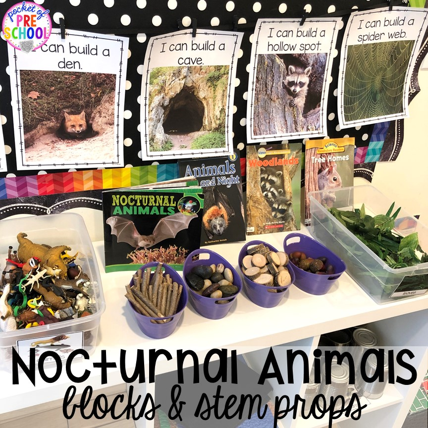 Nocturnal animals blocks center and STEM challenges! Plus more Nocturnal Animals activities and centers for preschool, pre-k, and kindergarten. #preschool #prek #nocturnalanimalstheme #falltheme