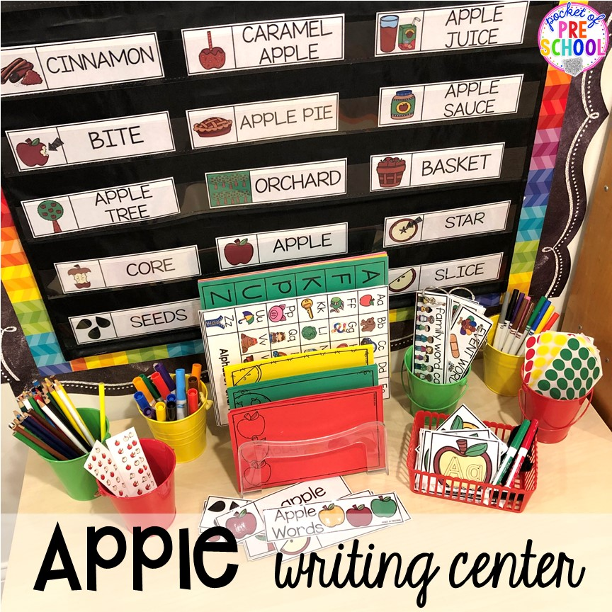 Apple writing center plus more apple activities and centers perfect for preschool, pre-k, and kindergarten. #appletheme #preschool #prek #appleactivities