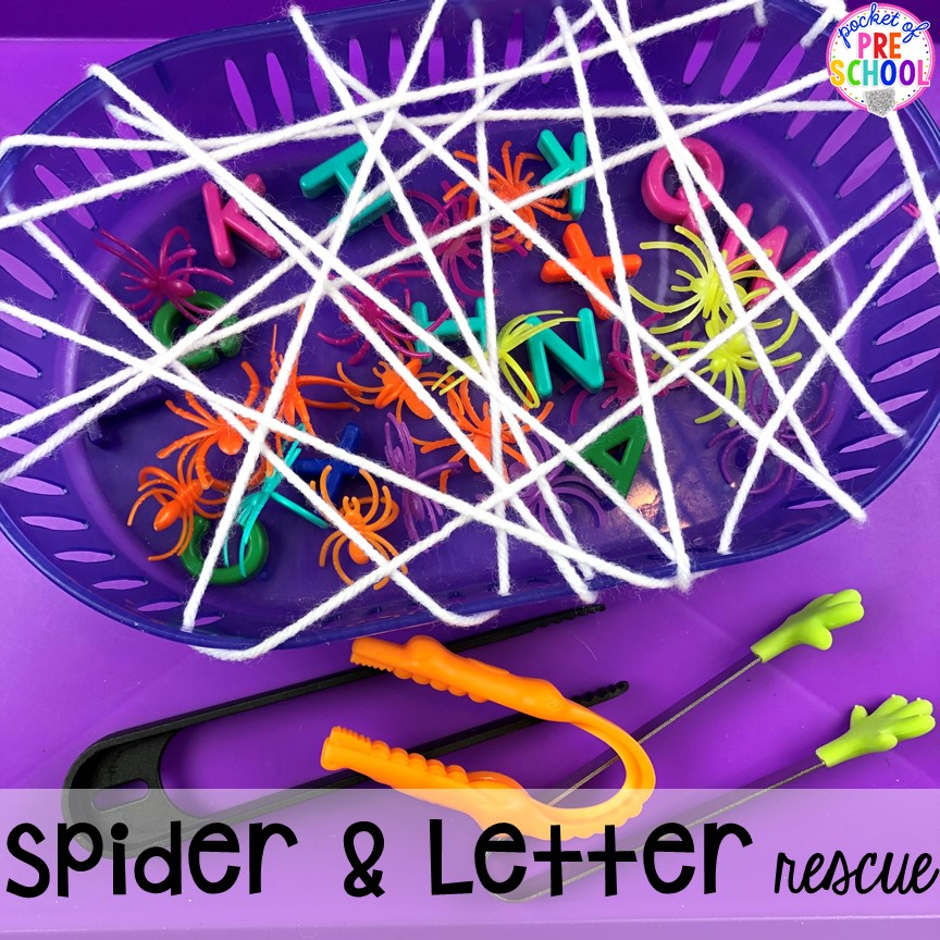 Spider rescue and letter rescue fine motor challenge. Plus more Nocturnal Animals activities and centers for preschool, pre-k, and kindergarten. #preschool #prek #nocturnalanimalstheme #falltheme