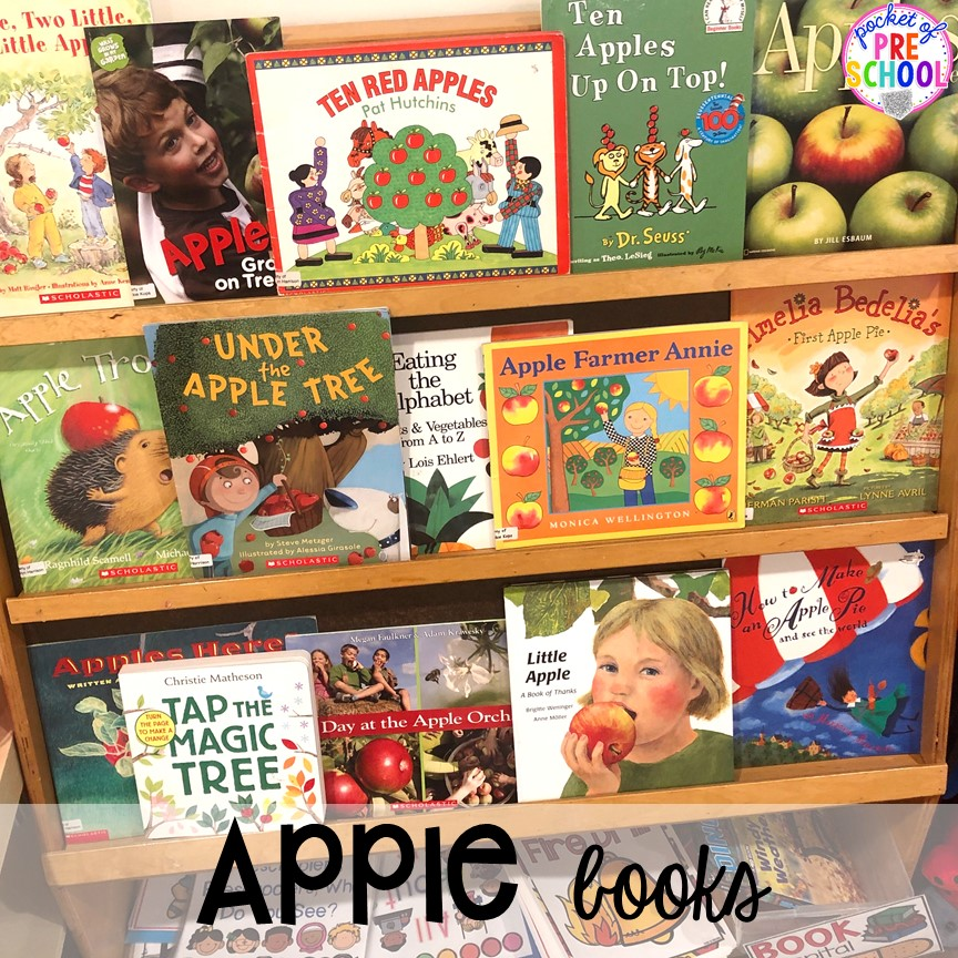 Apple books plus more apple theme activities and centers perfect for preschool, pre-k, and kindergarten. #appletheme #preschool #prek #appleactivities