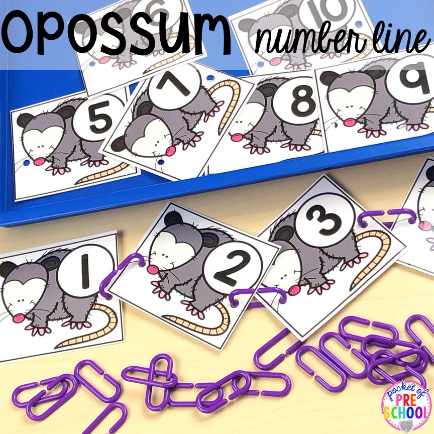 Opossum number line or counting on line for a nocturnal animals or forest theme.Plus more Nocturnal Animals activities and centers for preschool, pre-k, and kindergarten. #preschool #prek #mathgame