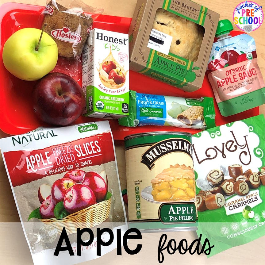 Apple food tasting plus more apple theme activities and centers perfect for preschool, pre-k, and kindergarten. #appletheme #preschool #prek #appleactivities